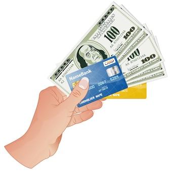 Mano con banconote da un dollaro e carte di credito