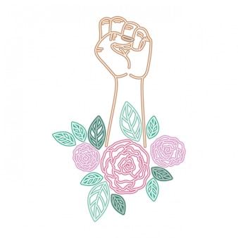 Mano con carattere avatar fiore