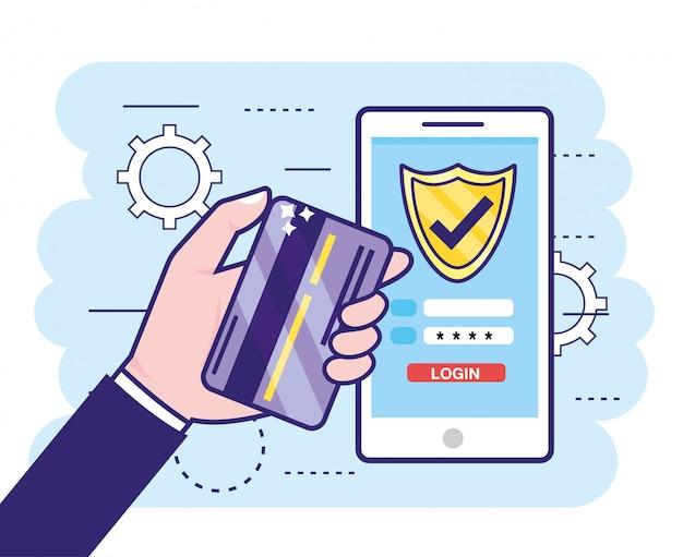 Mano con carta di credito e smartphone con password di finanza