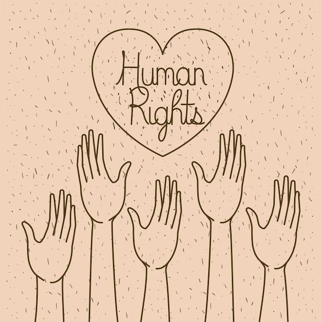 Mano con cuore disegnato per i diritti umani