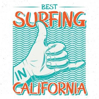 Mano con gesto di surf