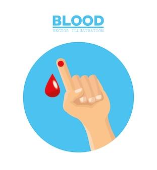 Mano con goccia di sangue