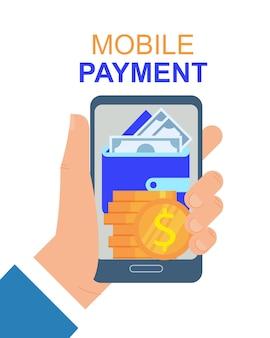 Mano con l'illustrazione di vettore di app di pagamento del telefono cellulare.