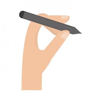 Mano con la penna del tablet