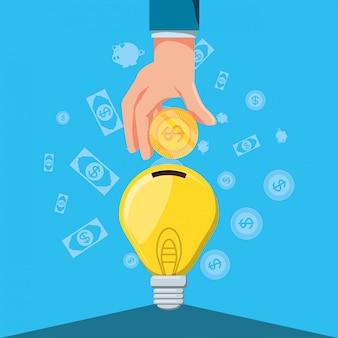 Mano con lampadina a risparmio energetico