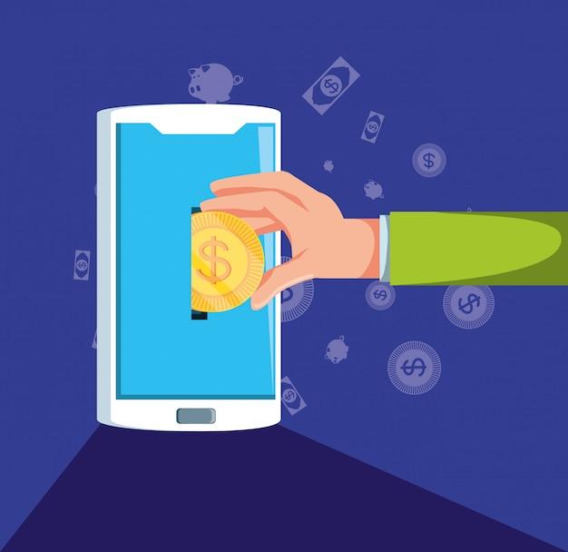 Mano con lo smartphone e impostare finanza economia icone