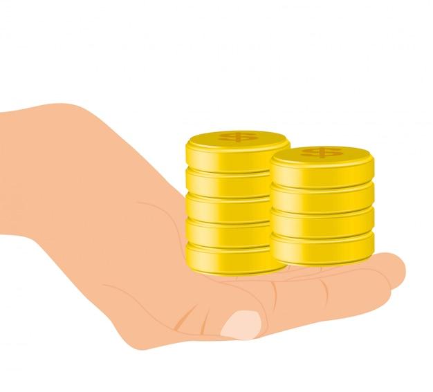 Mano con monete d'oro su sfondo bianco illustrazione vettoriale
