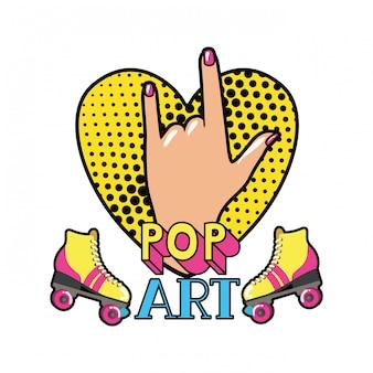 Mano con segno rock pop art