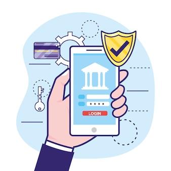 Mano con smartphone e password di sicurezza bancaria