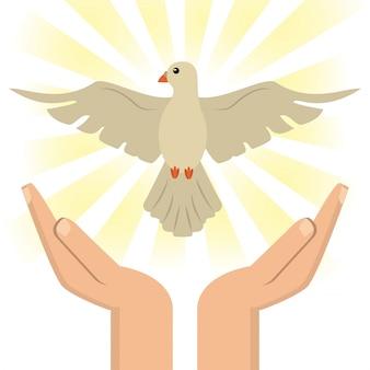 Mano con spirito santo cattolico
