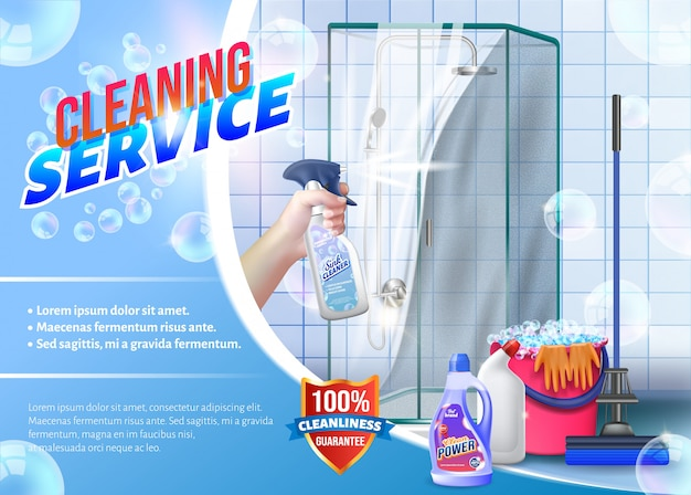 Mano con spray glass in mano sulla doccia