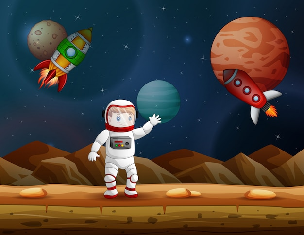 Mano d'ondeggiamento dell'astronauta sulla scena del pianeta