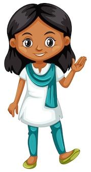 Mano d'ondeggiamento della ragazza indiana su bianco