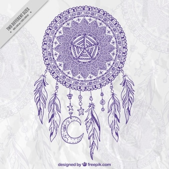 Mano decorativo dreamcatcher disegnato