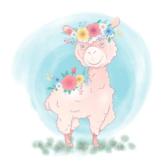 Mano del fumetto che disegna lava in una corona e con i mazzi di fiori