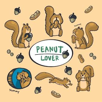 Mano del fumetto che disegna scoiattolo e fondo svegli di autunno