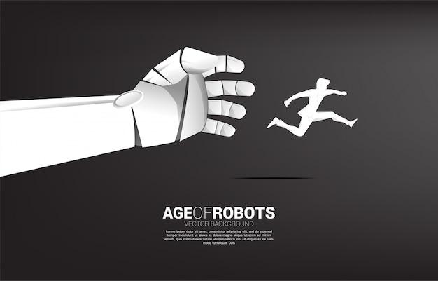 Mano del robot tenta di afferrare l'uomo d'affari. concetto di business di interruzione dell'apprendimento automatico dell'ia.