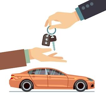 Mano del venditore di auto che fornisce chiave al compratore. acquisto o noleggio di attività automobilistiche