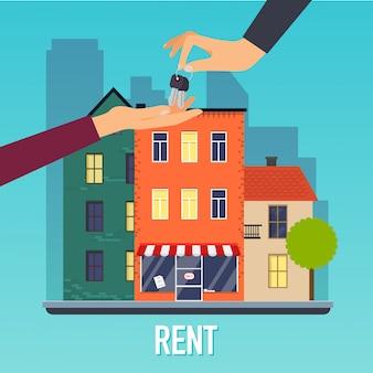Mano dell'agente immobiliare che fornisce chiave al compratore domestico. offerta di acquisto casa, affitto di beni immobili. concetto di illustrazione moderna.