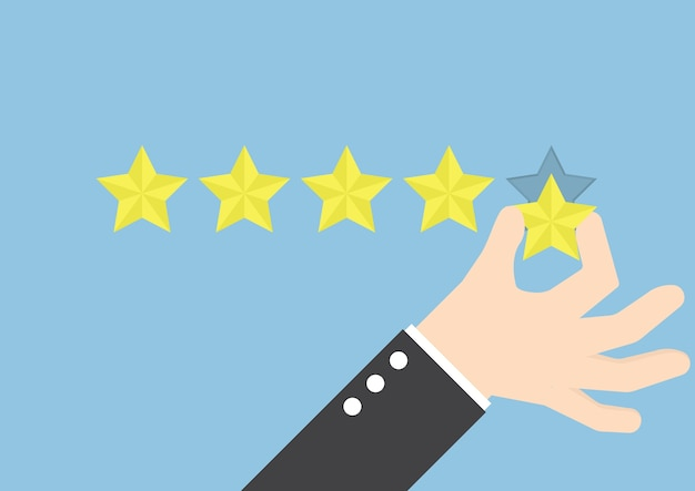 Mano dell'uomo d'affari che dà una valutazione di cinque stelle, concetto di risposte