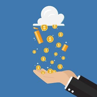 Mano dell'uomo d'affari che riceve la pioggia dei soldi dalla tecnologia della nuvola