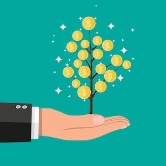 Mano dell'uomo d'affari con l'albero della moneta.
