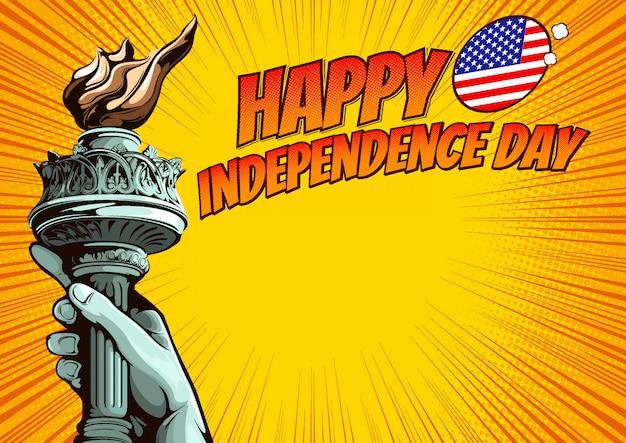 Mano della statua della libertà, festa dell'indipendenza, modello di copertina del libro di fumetti su sfondo giallo.