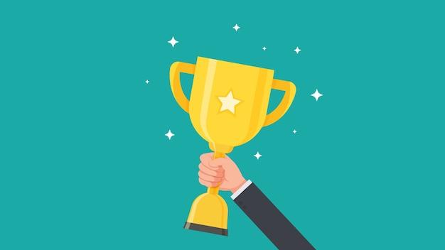 Mano della tazza del trofeo della tenuta dell'uomo d'affari e mostrare un'illustrazione di vettore del premio