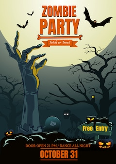 Mano delle zombie di halloween sul manifesto del partito dei cimiteri