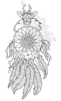 Mano di arte del tatuaggio che disegna dreamcatcher in bianco e nero con la linea illustrazione di arte isolata