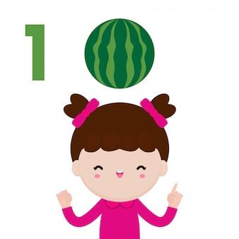 Mano di bambini felici che mostra il numero uno, bambini carini che mostrano i numeri con le dita. il numero di matematica di studio del piccolo bambino conta il concetto di istruzione della frutta, illustrazione isolata materiale di apprendimento