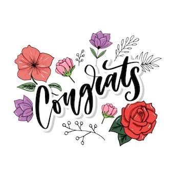 Mano di congratulazioni scritta scritta per carta di congratulazioni, cartolina d'auguri