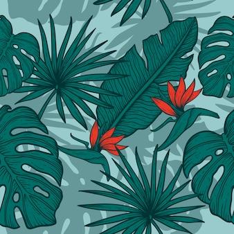 Mano di foglie di fiori disegnare un design vintage