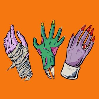 Mano di halloween con l'illustrazione di dracula e delle zombie