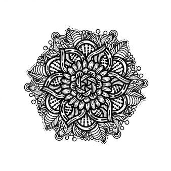 Mano di lusso disegnare ornamento floreale mandala