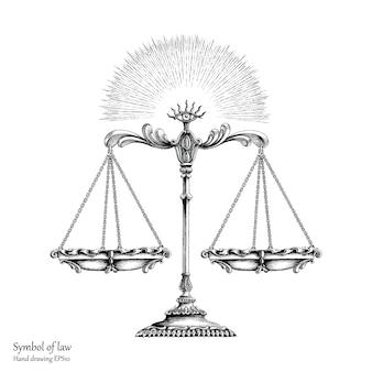 Mano di simbolo di legge che disegna stile d'annata, equilibrio della legge