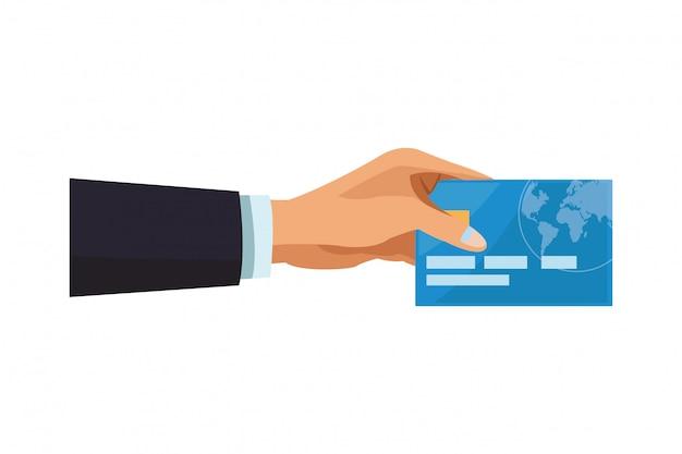 Mano di uomo d'affari con carta di credito