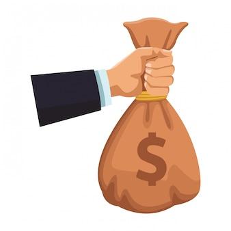 Mano di uomo d'affari con la borsa dei soldi