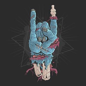 Mano di zombie con ossa e illustrazione di sangue