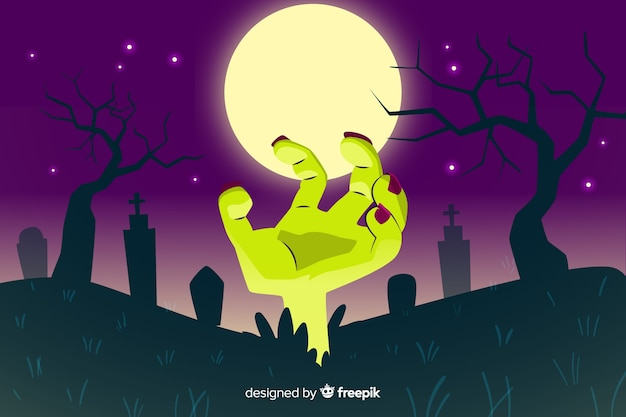 Mano di zombie con sfondo di luna piena