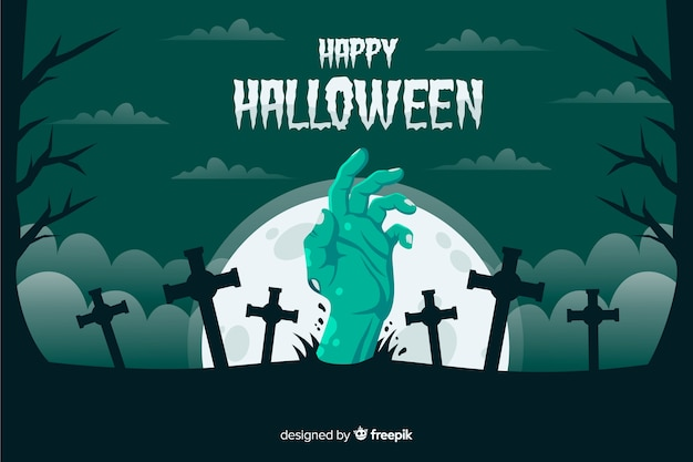 Mano di zombie verde con sfondo di croci