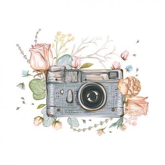 Mano dipinta di sfondo fotocamera