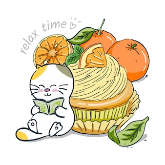Mano disegnare gatto con cupcake arancione