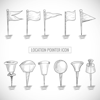 Mano disegnare posizione icona puntatore set schizzo design