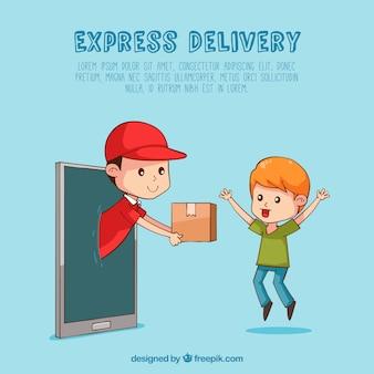 Mano disegnata consegna e felice bambino