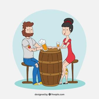 Mano disegnata moderna birra bevendo coppia