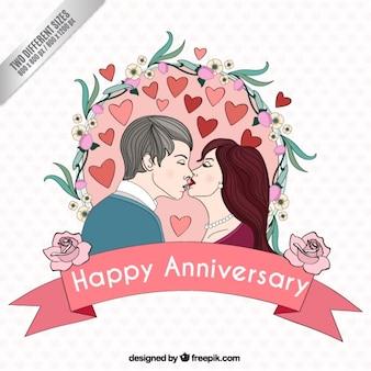 Mano disegnato coppia in amore