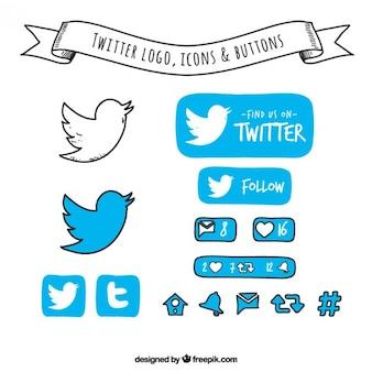 Mano disegnato twitter logo, icone e pulsanti