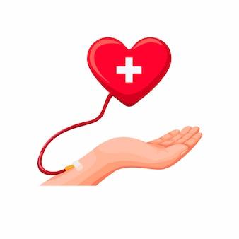 Mano donazione di sangue. trasfusione di sangue con il concetto di simbolo del cuore nel vettore dell'illustrazione del fumetto isolato