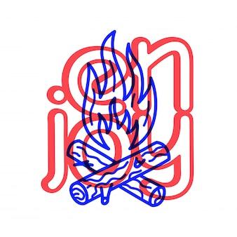 Mano draw doodle falò e icona del campo da golf in legno.